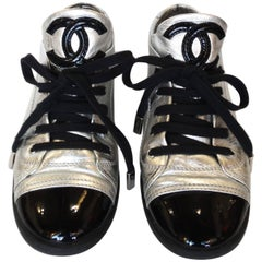 Sporty Chanel Silver Cap-toe Sneakers