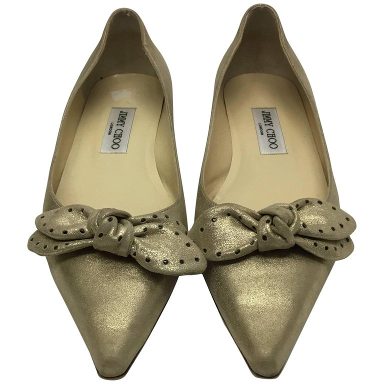 Jimmy Choo Gold Bow Flats