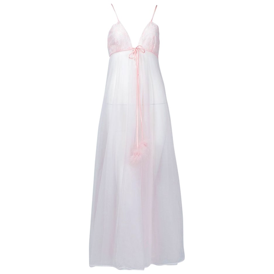 Blush Pink Marabou Feather Pillow Talk Negligée Nightgown - Small-Med, 1960s