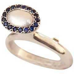 Avant Garde Rosa Maria Oval Ring with Sapphires Sterling Silver FR 55 US 7