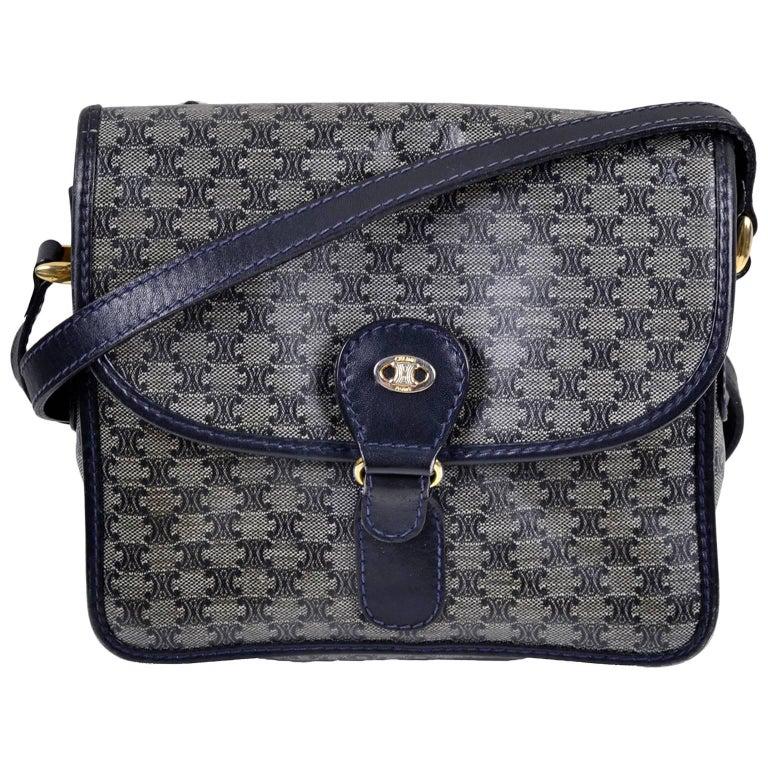 Vintage Celine Navy Blue Logo Handbag With Leather Trim