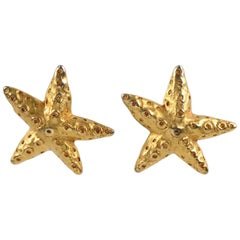 Christian Lacroix Paris Oversized Gilt Metal Starfish Clip on Earrings