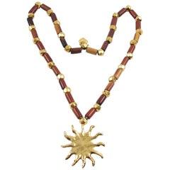 Edouard Rambaud Paris Signed Extra Long Necklace Wood Gilt Sun Medallion