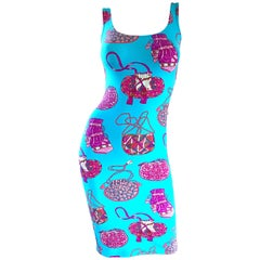 New 1990s Manuel Canovas Novelty Purse Handbag Print Blue + Pink Bodycon Dress