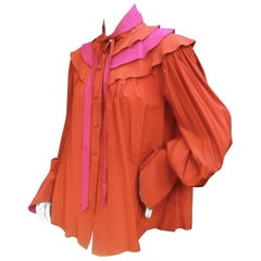 Roger & Gallet Paris Copper Fuchsia Silk Ruffled Tiered Bow Blouse c 1970s
