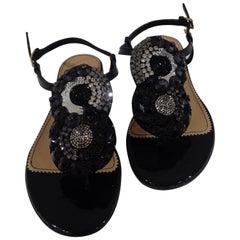 Dsquared2 Black leather embellished sandals