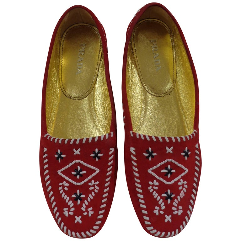 Prada red suede unworn loafer