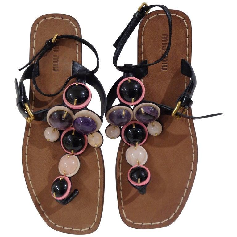 Miu Miu embellished sandals For Sale