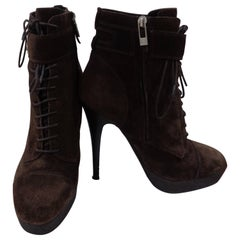Yves Saint Laurent brown suede boots