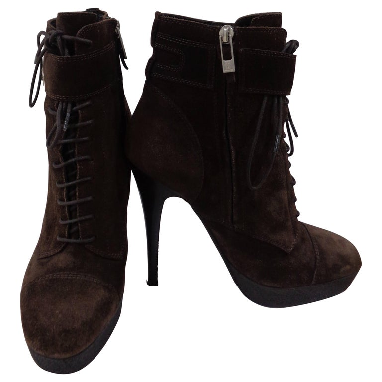 Yves Saint Laurent brown suede boots For Sale