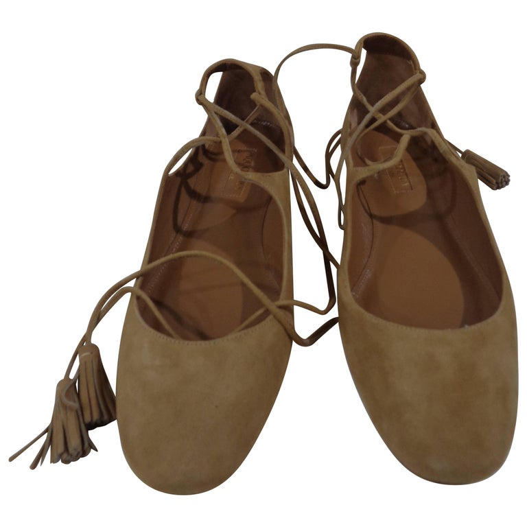Aquazzura nude suede shoes unworn