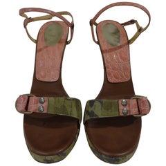 Casadei camouflage pink sandals
