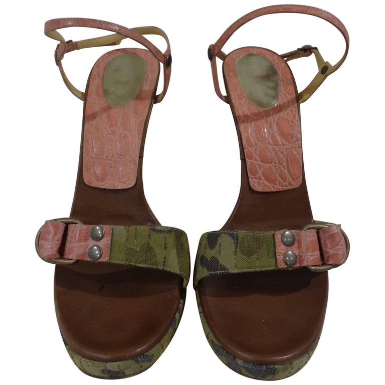 Casadei camouflage pink sandals  For Sale