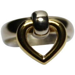 SO CUTE Hermès Vintage Ring Silver and Gold 18k Love Size 8 USA / Good Condition