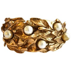 Yves Saint Laurent organic leaf cuff with pearls, 1980s