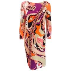 Extravagant Emilio Pucci's Multi Pink Hue Diamond Banner Design at Front Dress