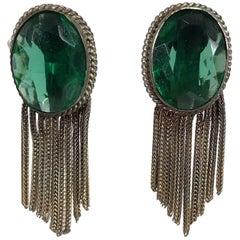 1950s faux emeralds with gold metallic fringe earrings