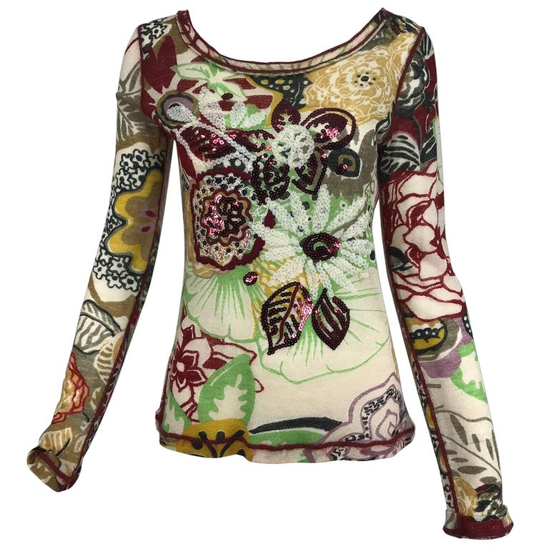 Jean Paul Gaultier Fuzzi sequin floral lacy wool knit sweater