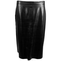 Balmain soft black leather straight skirt 42