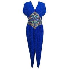 Vintage Naeem Khan silk jeweled Raj inspired beaded gown 1980s