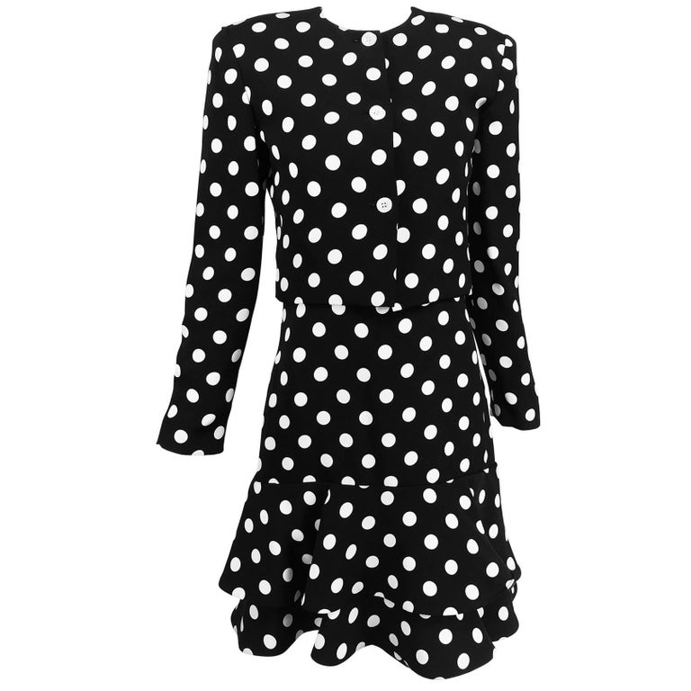 Carolyne Roehm Black And White Polka Dot Strapless Dress And Jacket