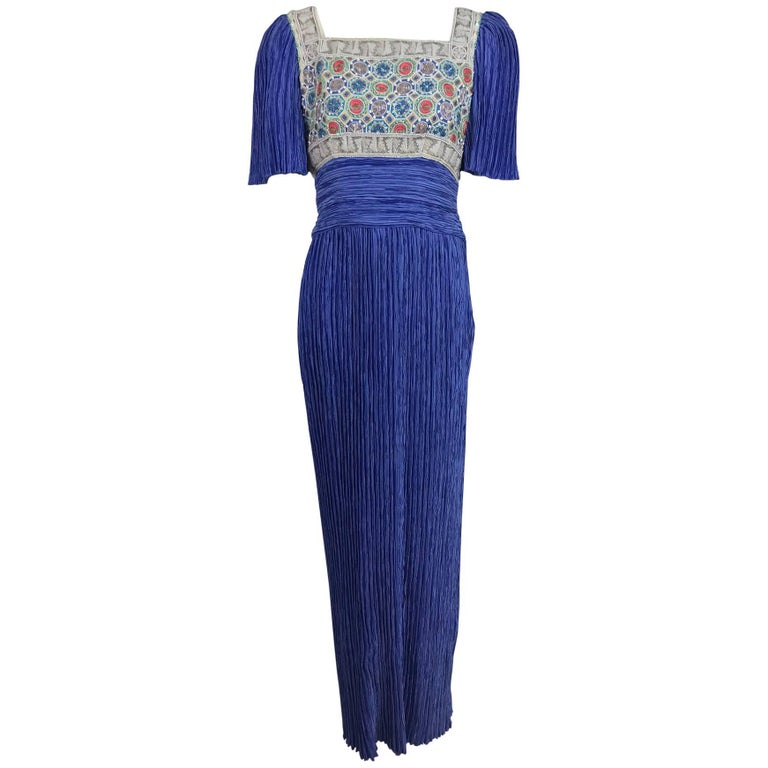 Mary McFadden beaded Fortuny style pleated evening gown 1980s