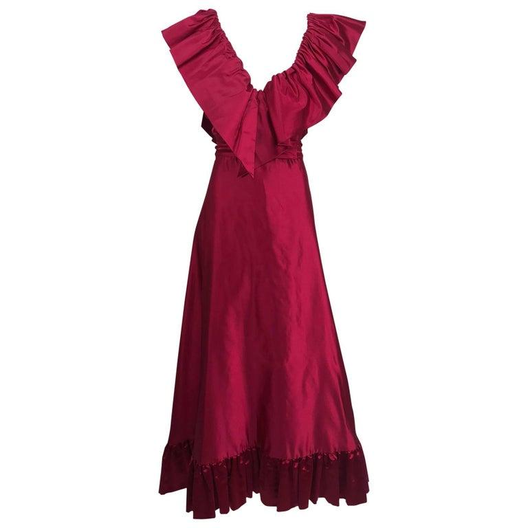 Vintage Stavropoulos plunge garnet slipper satin evening gown 1970s