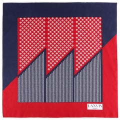 LANVIN Navy Blue & Red Geometric Botanical Colorblock Print Silk Scarf