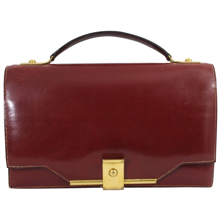 Vintage Hermes Red Bordeaux Box Leather and Golden Hardware Clutch