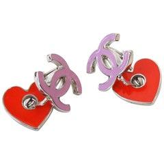 1990s Chanel Pink CC Red Heart Enamel Earrings