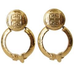 1980s Givenchy Belt Buckle Door-Knocker Earrings
