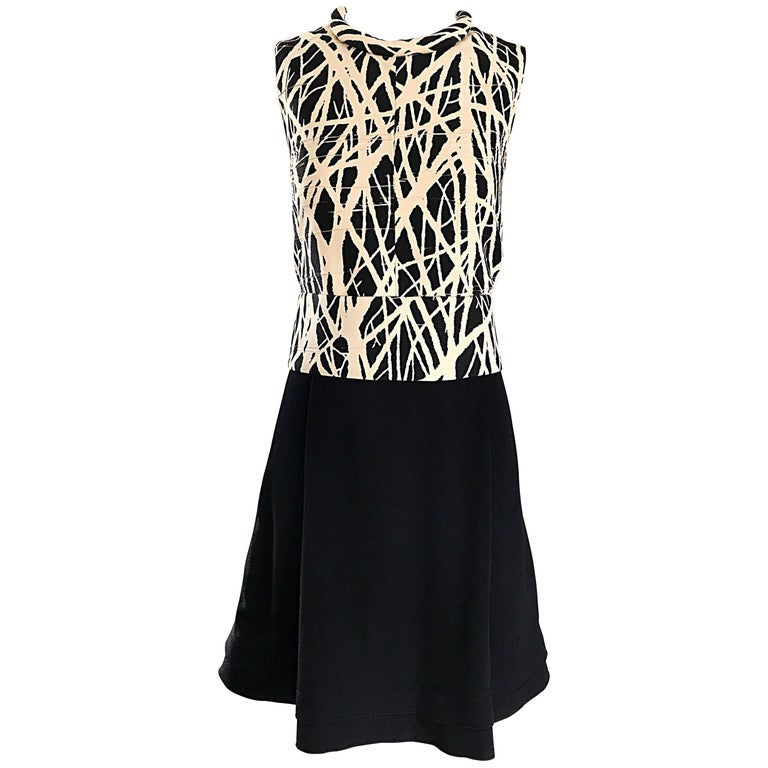 New Proenza Schouler Size 8 Black and White Abstract 1960s Style A Line Dress