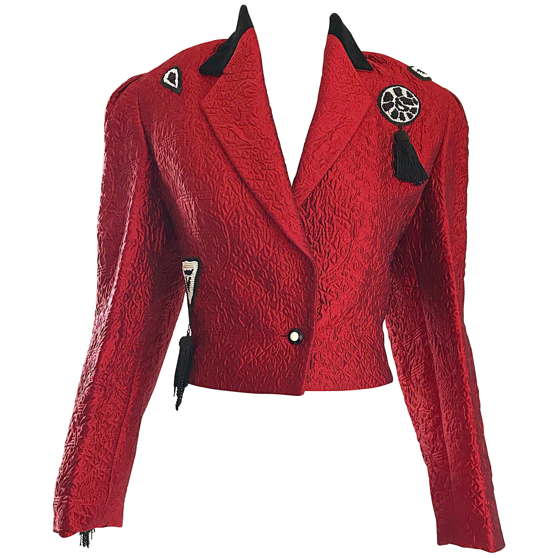 1990s Louis Feraud Red + Black Beaded Tassel Size 8 Cropped Silk Bolero Jacket