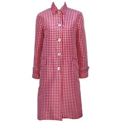 1990's Ralph Lauren Collection Silk Red & White Gingham Trench Coat