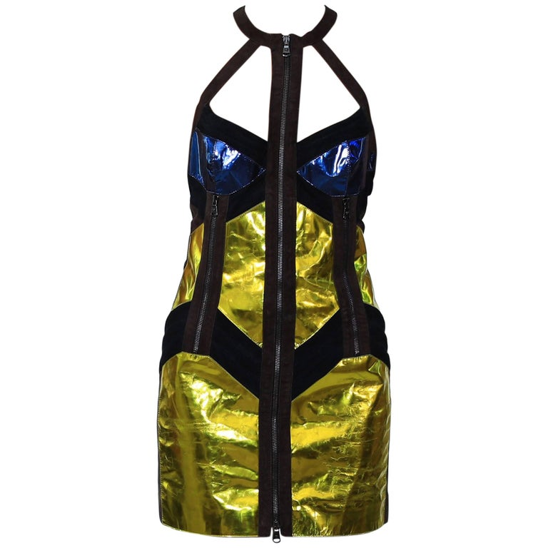 F/W 10 Look#31 VERSACE MIRRORED LEATHER DRESS For Sale