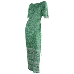 Vintage Gene Shelly Green Sequined Gown