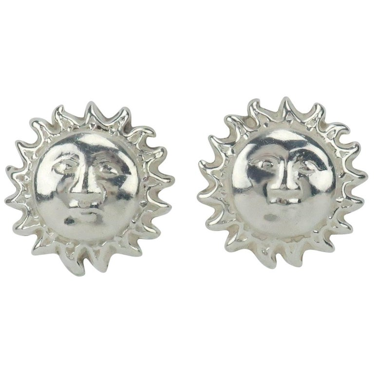 Vintage Mexican Sterling Silver Sun Earrings For