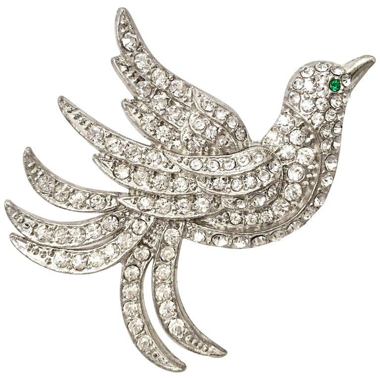 c6643c50f03 Vintage Art Deco Silver & Austrian Crystal Rhinestone Bird Brooch For Sale