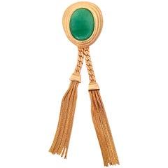 Vintage Gold & Glass Jade Fringe Tassel Brooch