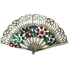 Trifari Alfred Philippe Jeweled Fan Brooch