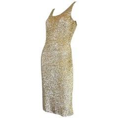 Vintage Gene Shelly Gold Sequined Cocktail Dress