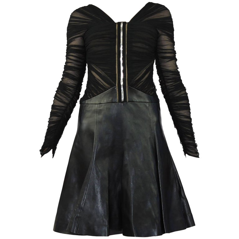 New Versace Black Leather and Tulle Dress 38