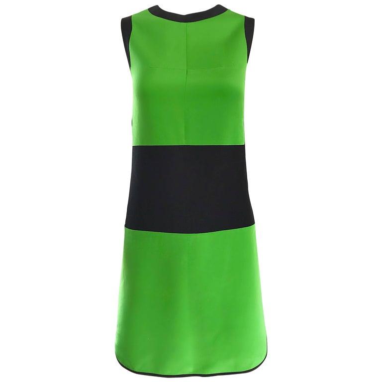 New Prabal Gurung Green And Black Color Block Size 6 Silk Mod Sheath