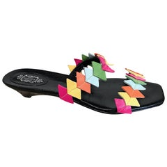 New 1990s Lulu Guinness Size 38 / 8 Kitten Heel Colorful Vintage Sandals Shoes