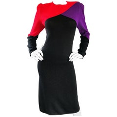 1980s St John by Marie Grey Black + Red + Purple Color Block Vintage Knit Dress