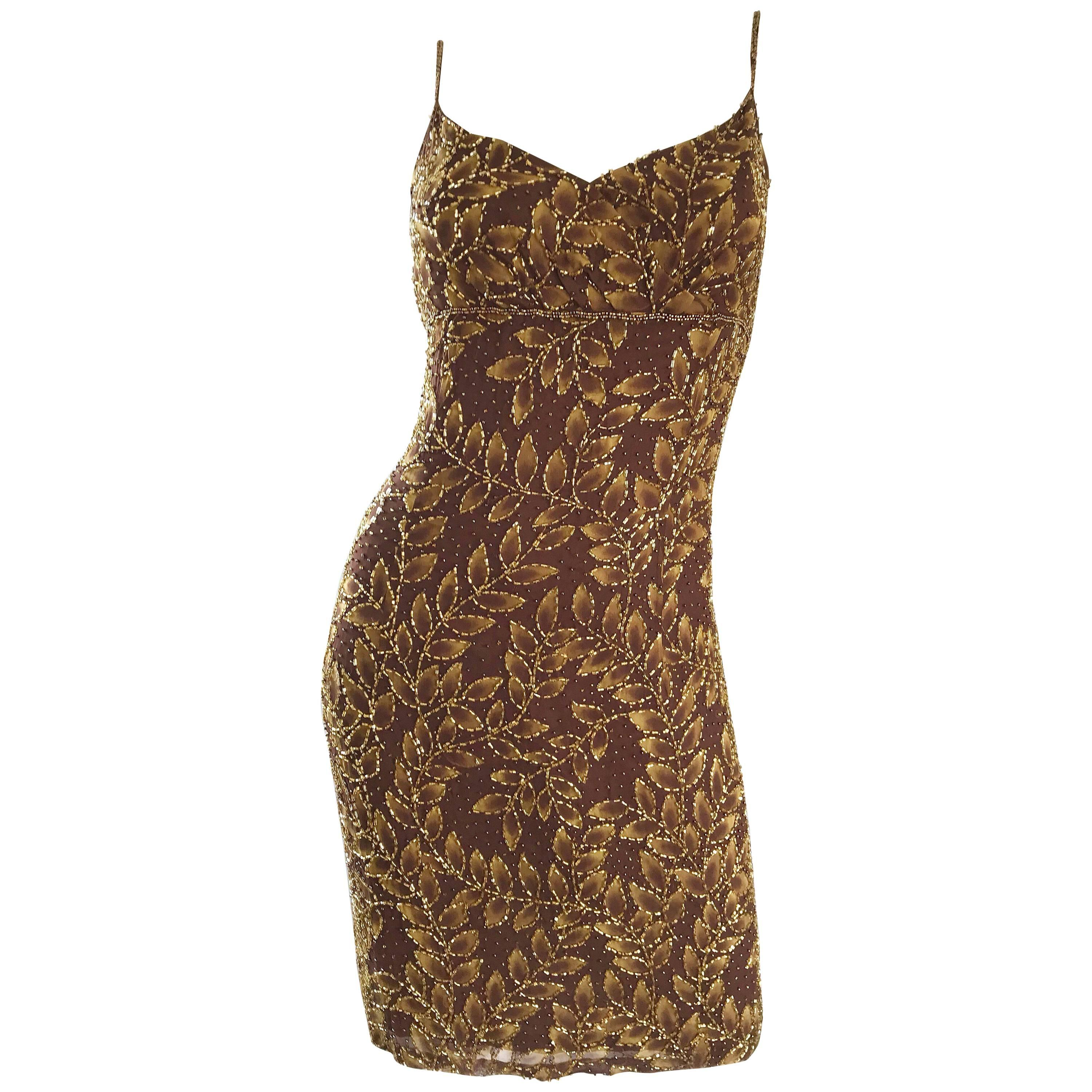 1990s Oleg Cassini Size 10 Brown and Gold Beaded Vintage 90s Silk Dress