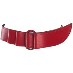 Claude Montana 1980s Avant Garde Lipstick Red Leather Vintage 80s Belt