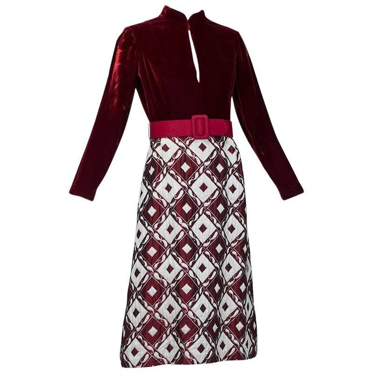 Ceil Chapman Velvet and Quilted Brocade Shirtwaist Dress, 1960s For Sale