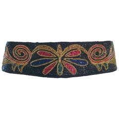 Fabulous 1980s Fully Beaded Butterfly Colorful Black Vintage 80s Belt