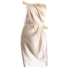 Bill Blass Size 10 Vintage Ivory White Silk Satin Strapless Dress, 1990s